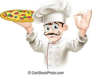 cook, smakelijk, het houden pizza