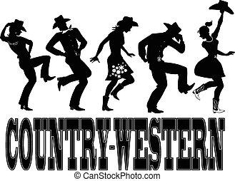 country-western, dans, silhouette, ba