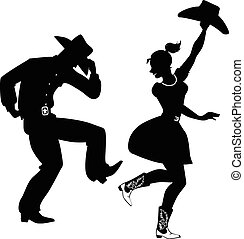 country-western, dans, silhouette