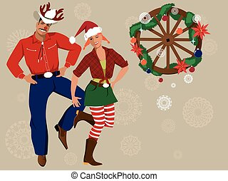 country-western, kerstmis, achtergrond
