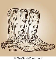 cowboy, boots., imitation., schets, hand, plank, image., kras, getrokken, sepia, gravure