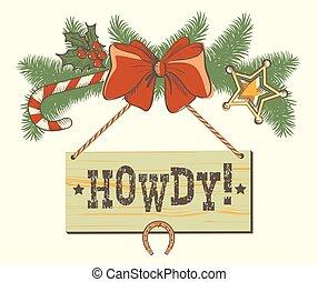 cowboy, kerstversiering, ontwerp, westelijk, achtergrond, of