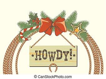 cowboy, krans, amerikaan, westelijk, decoraties, traditonal, kerstmis, lasso