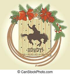 cowboy, krans, westelijk, decoraties, kerstmis, lasso