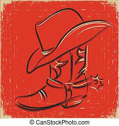 cowboy laars, illustratie, vijand, ontwerp, westelijk, .sketch, hoedje