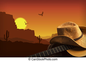cowboy, land, gitaar, amerikaan, muziek, achtergrond, hoedje