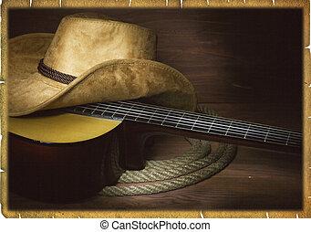 cowboy, land, gitaar, amerikaan, muziek, achtergrond, kleren