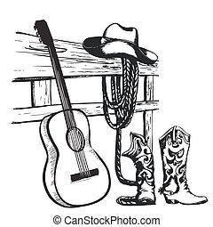 cowboy, ouderwetse , gitaar, muziek, poster, kleren