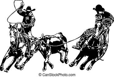 cowboy, team, ropers