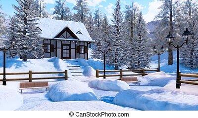 cozy, woning, snowbound, winter, dag, alpien, berg