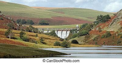 craig, goch, water, uk., elan, dam, wales, overstromen, vallei