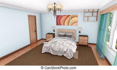 creatie, moderne, ontwerp, slaapkamer, interieur, 3d