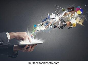 creativiteit, zakelijk, tablet