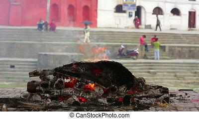 crematie, dood, burning, lijk, nepal, vuur, kathmandu, pashupatinath, tempel, ceremonie