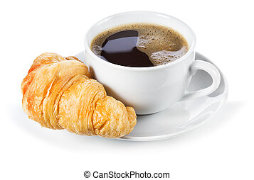 croissant, koffiekop