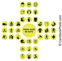 cruciform, verzameling, gezondheid, gele, veiligheid, pictogram