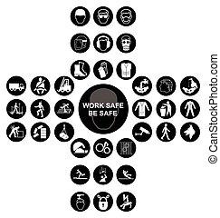 cruciform, verzameling, gezondheid, veiligheid, black , pictogram