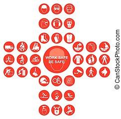 cruciform, verzameling, gezondheid, veiligheid, rood, pictogram