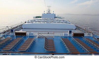 cruiseschip, ligstoel, zee, dek