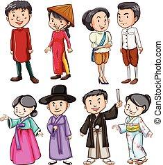 cultuur, het tonen, aziatische mensen