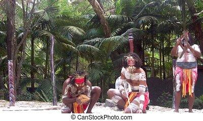 cultuur, queensla, aboriginal, tonen