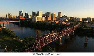 cumberland, nashville, rivier, downtown, stad skyline, tennessee, architectuur
