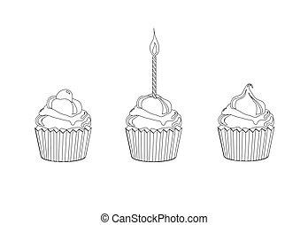 cupcake, pagina, het verkleuren