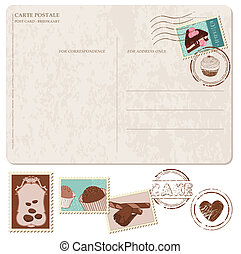 cupcakes, oud, postkaart, -, postzegels, vastgesteld ontwerp, scrapbooking