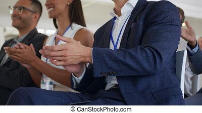 cursus, applauding, publiek, zakelijk