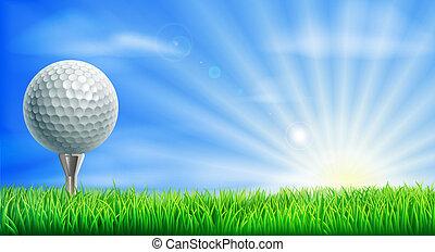 cursus, bal, golf tee