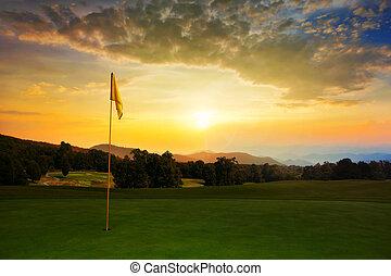 cursus, golf, zonopkomst