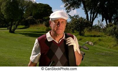 cursus, middelbare leeftijd , wandelende, golf, golfspeler