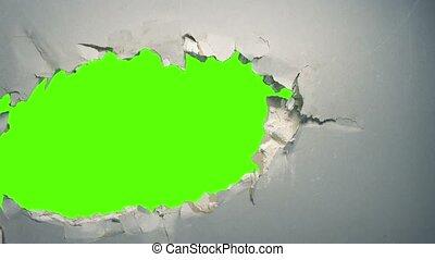 cutout, groot, gat, muur, greenscreen