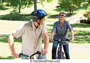 cycling, paar, park