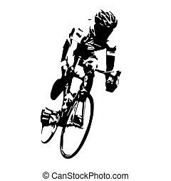 cycling, vector., straat, fietser