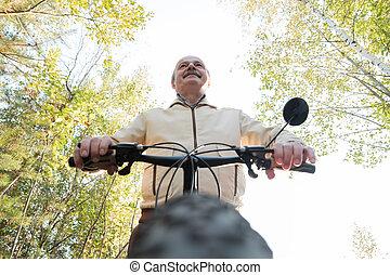 cyclus, platteland, man, verticaal, paardrijden