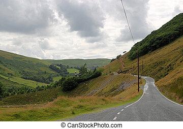 cymystwyth, laan, land, uk., enkel, wales, straat