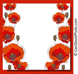 dag, day., oorlog, mei, vector, spandoek, symbolisch, klaproos, wereld, 9., overwinning, illustration., plein, symbool, tweede, memory., postcard., poster., witte bloem, achtergrond., rood