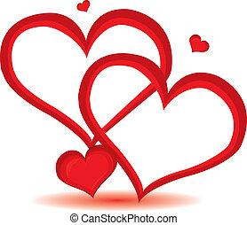 dag, hart, valentijn, vector, achtergrond., rood, illustration.