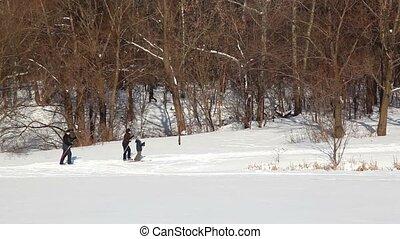 dag, moeder, winter, vader, zoon, skien