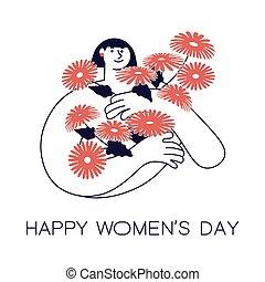 dag, vrouwen, s, vrolijke