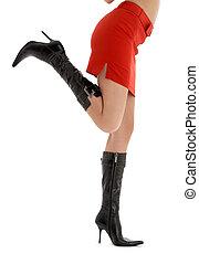 dame, benen, rok, back, rood