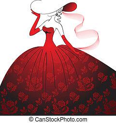 dame, galajurk, rood