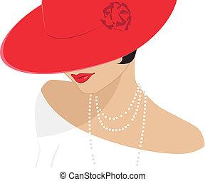 dame, hoedje, rood
