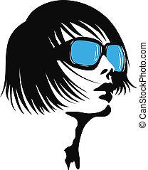 dame, zonnebrillen, jonge