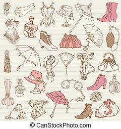 dames, mode, doodle, -, accessoires, verzameling, hand, vector, getrokken