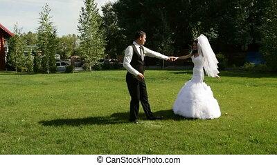 dancing, dans, paar, getrouwd, trouwfeest, eerst