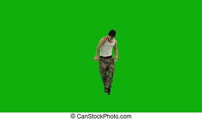 dancing, groene, scherm, kerel, heup-hop