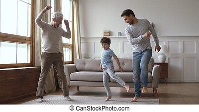 dancing, mannen, thuis, multi, generatie, vrolijk, gezin, blij