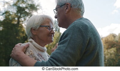 dancing, park, voorhoofd, oudere paar, man, dag, oud, herfst, woman., vrolijke , park., kus, flirten, senior